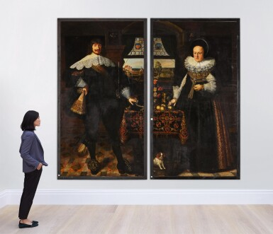 View 6. Thumbnail of Lot 139. Portrait of Johann Jobst Schmidtmaier von Schwarzenbruck (1611-47); Portrait of his wife, Anna Maria (1605-64), both standing, full-length, in interiors with landscapes visible through windows beyond.