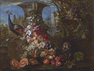 DAVID DE CONINCK | Still life with a peacock and monkey in a wooded landscape