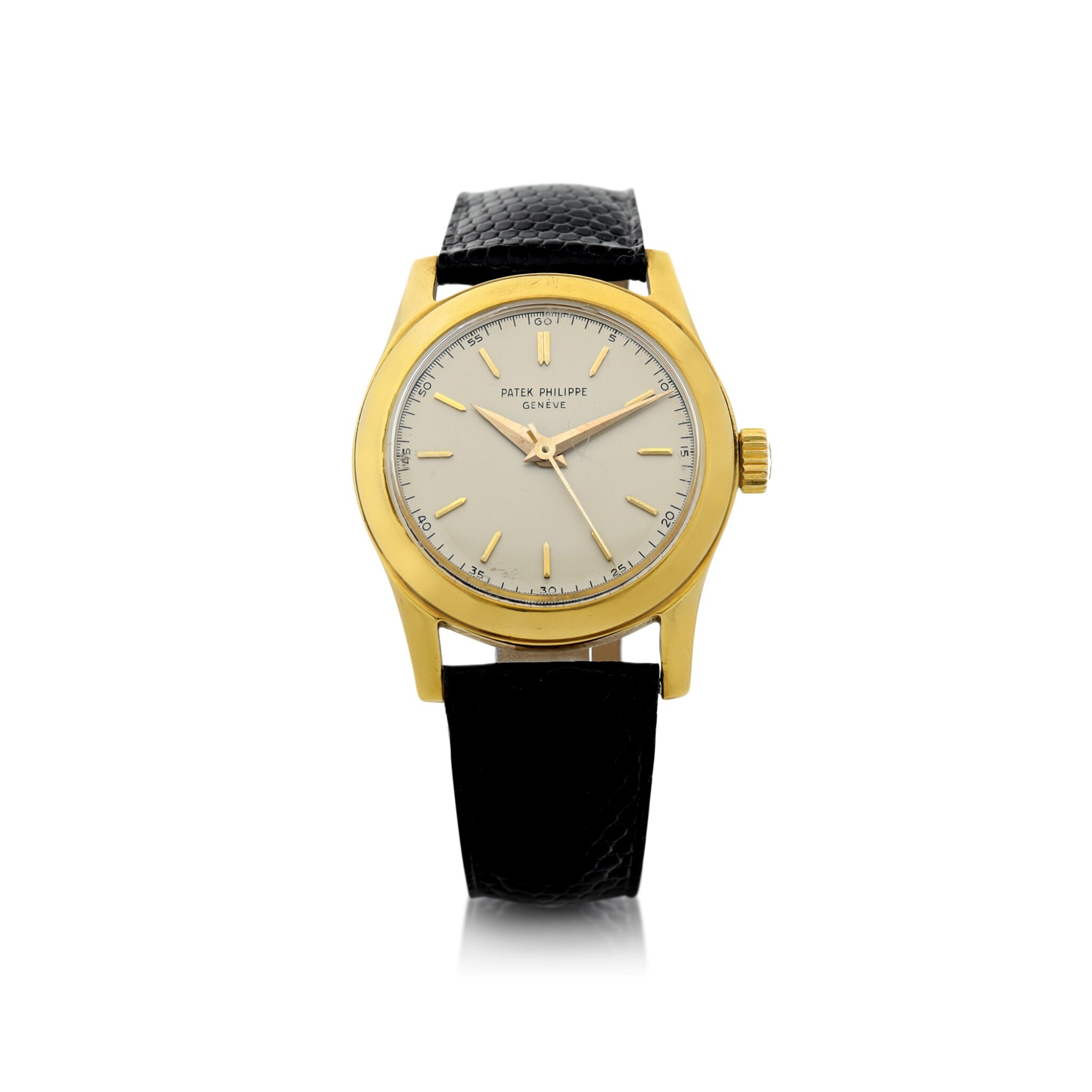 View full screen - View 1 of Lot 3. REFERENCE 2483 A YELLOW GOLD CENTER SECONDS WRISTWATCH, MADE IN 1950.