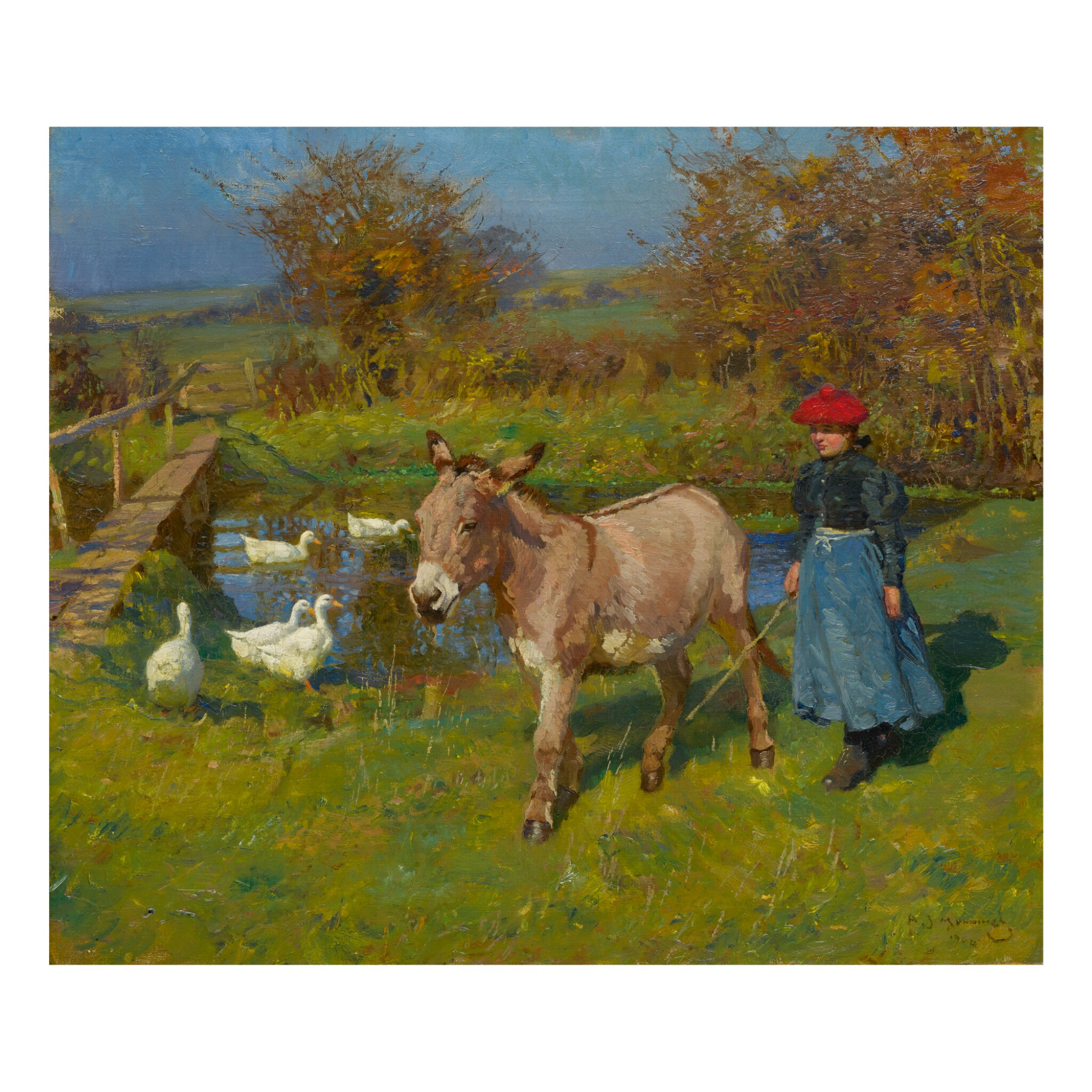 View 1 of Lot 72. SIR ALFRED JAMES MUNNINGS, P.R.A., R.W.S.   CROSTWICK COMMON: WOMAN WITH A DONKEY AND GEESE .