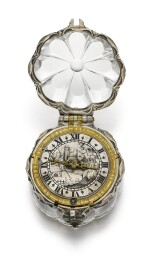 BOUQUET, LONDON  [Bouquet,倫敦]  | A SILVER AND ROCK CRYSTAL SCALLOP-FORM VERGE WATCH  CIRCA 1640   [銀鑲水晶花瓣形懷錶備機軸式擒縱機芯,年份約1640]