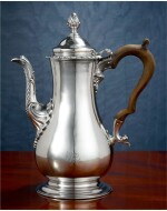 AN EARLY AMERICAN SILVER COFFEE POT, MYER MYERS, NEW YORK, CIRCA 1760