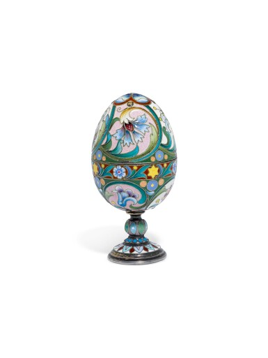 A silver-gilt and cloisonné enamel egg, 1899-1908
