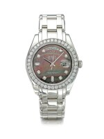 ROLEX   REFERENCE 18946 DAY-DATE MASTERPIECE  A PLATINUM AND DIAMOND-SET AUTOMATIC WRISTWATCH WITH DAY, DATE AND MOTHER OF PEARL DIAL, CIRCA 2000
