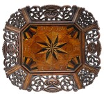 A DUTCH WALNUT AND MARQUETRY INLAID LAYETTE TRAY ON STAND, DATED 1757