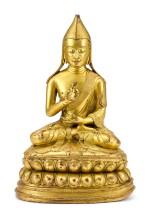 AN INSCRIBED GILT-BRONZE FIGURE OF THE 7TH TAI SITUPA LAMA, TIBET, 17TH – 18TH CENTURY    十七至十八世紀 藏傳鎏金銅廣定大司徒巴喇嘛七世坐像