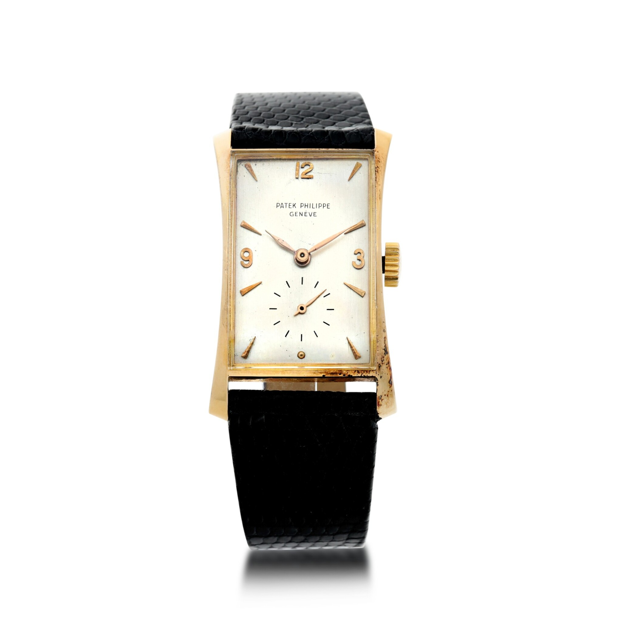 View full screen - View 1 of Lot 147. REFERENCE 1593 A PINK GOLD WRISTWATCH, MADE IN 1953.