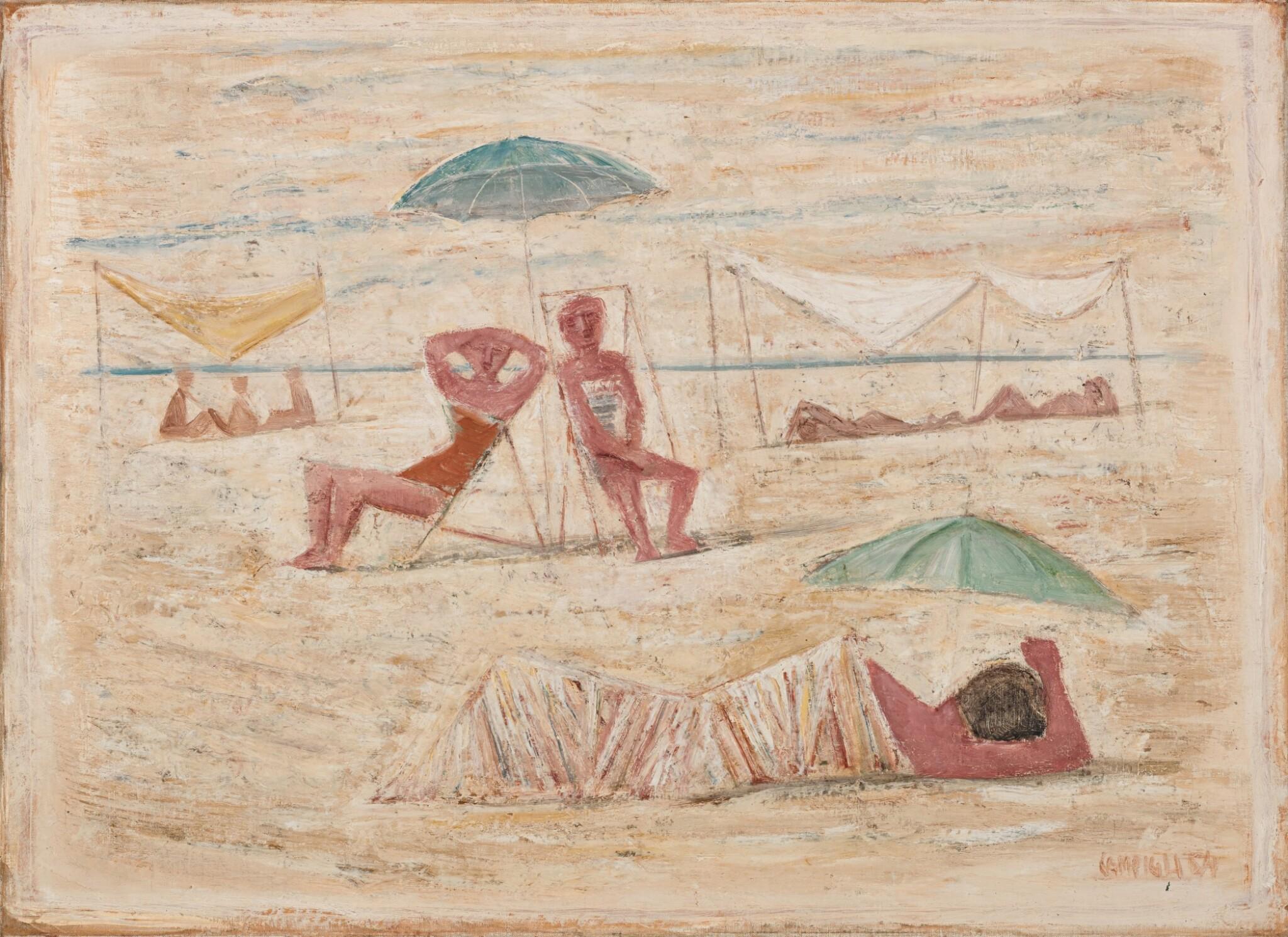 View full screen - View 1 of Lot 52. Spiaggia / Donne sulla spiaggia.