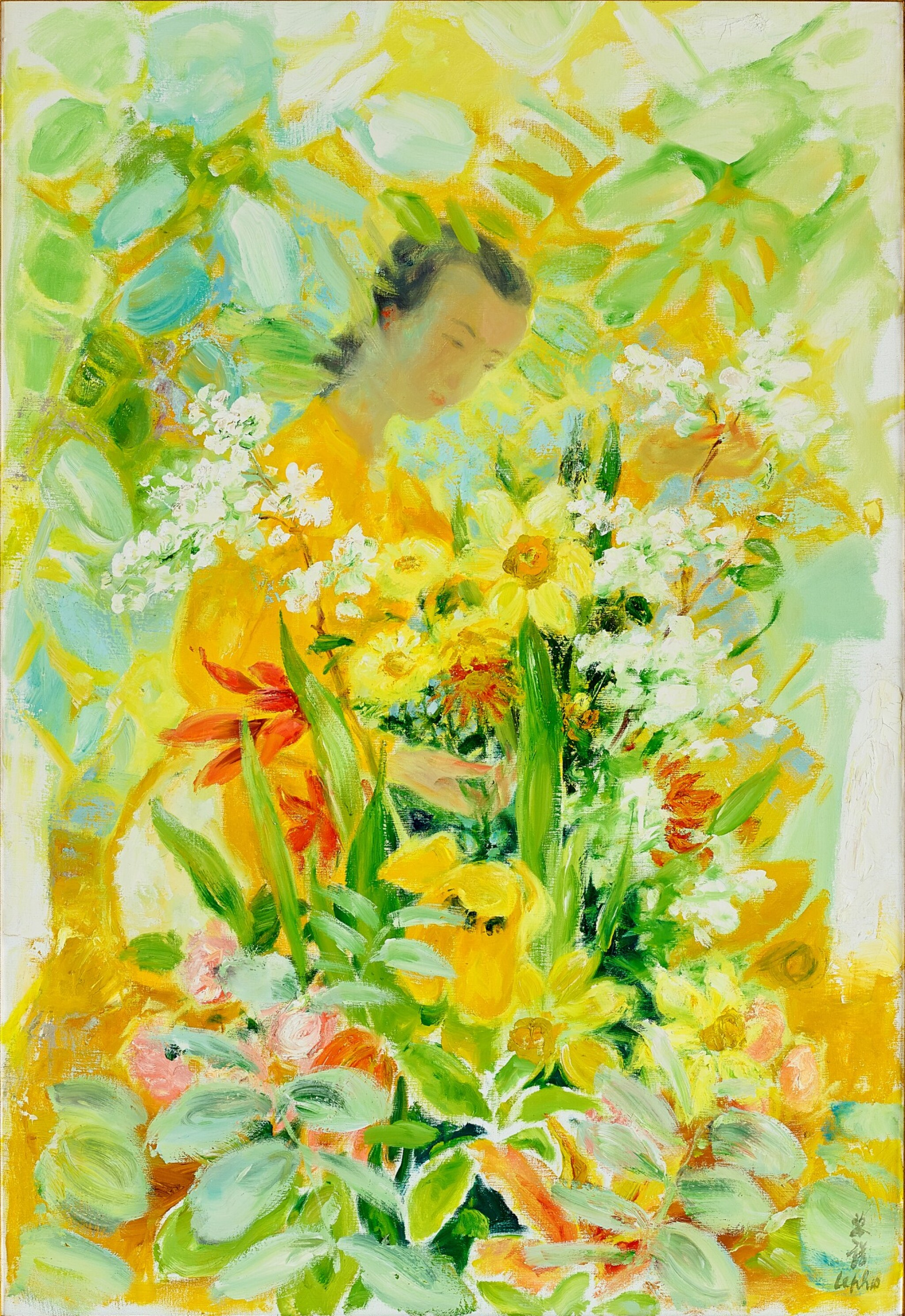 View full screen - View 1 of Lot 4504. Lady with Flowers | 女子與花.