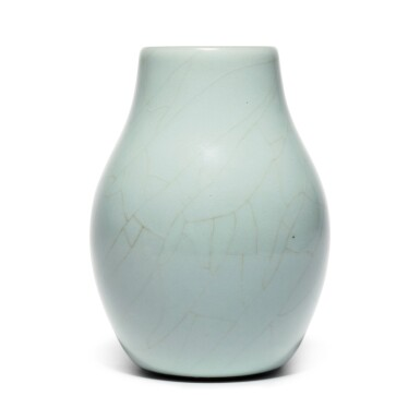View 1. Thumbnail of Lot 56. A superb and rare Guan-type ovoid vase, Seal mark and period of Qianlong | 清乾隆 仿官釉闊口瓶 《大清乾隆年製》款.