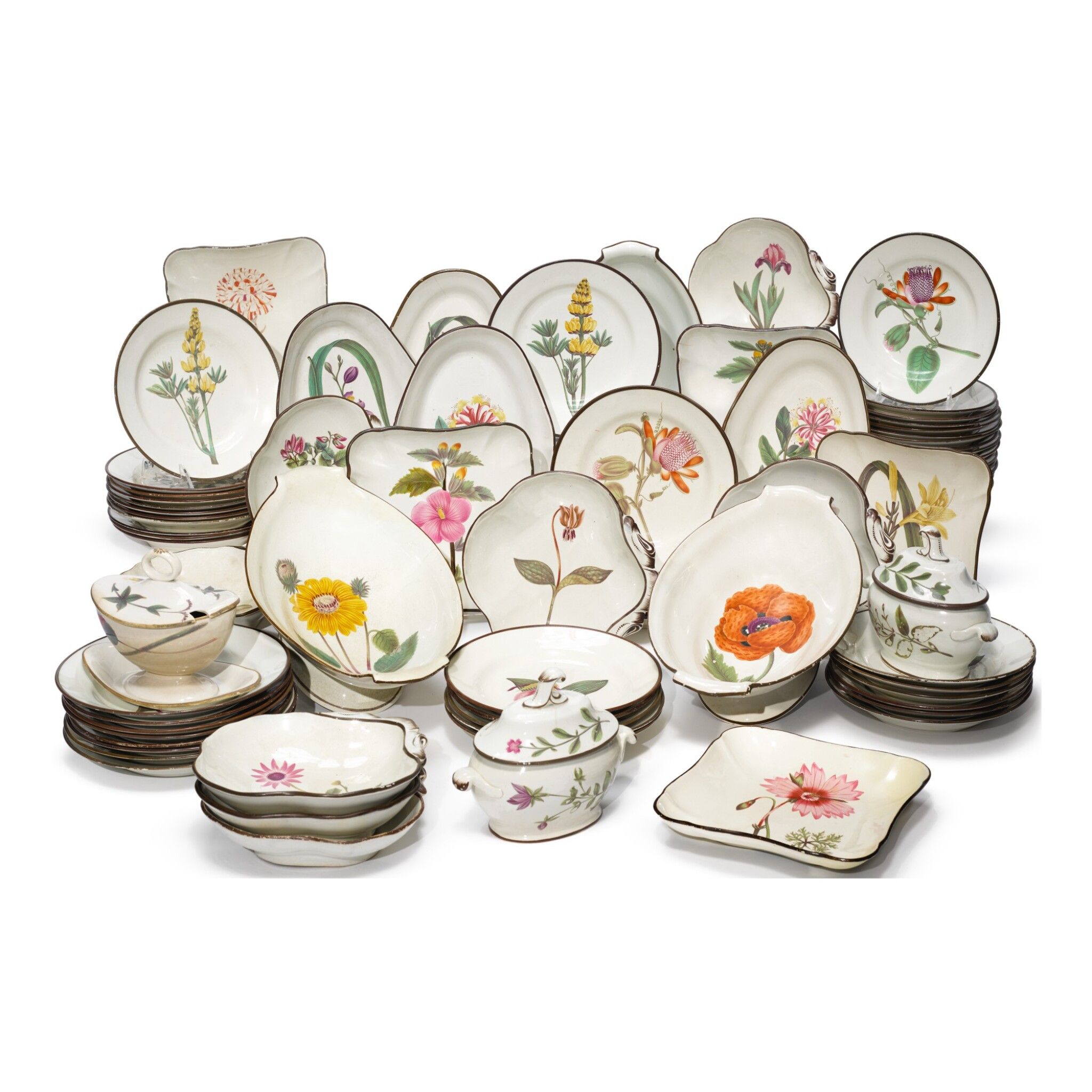 View full screen - View 1 of Lot 735. AN EXTENSIVE ASSEMBLED ENGLISH PEARLWARE BOTANICAL DESSERT SERVICE, EARLY 19TH CENTURY.