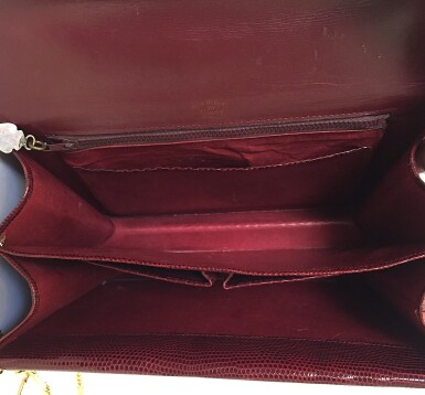 View 9. Thumbnail of Lot 725. GUCCI   BURGUNDY VINTAGE BAG IN LIZARD, c.1960s.