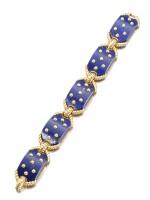 Cartier | Gold and lapis lazuli bracelet, 1970s | 卡地亞 | 黃金鑲青金石手鏈,1970年代