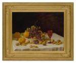 JOHN F. FRANCIS | AN ARRANGEMENT OF ORANGES, WALNUTS, ALMONDS, RAISINS, AND GRAPES ON A TABLETOP