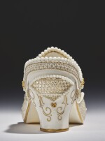A ROYAL WORCESTER RETICULATED PORCELAIN MODEL OF A SHOE BY GEORGE OWEN 1919