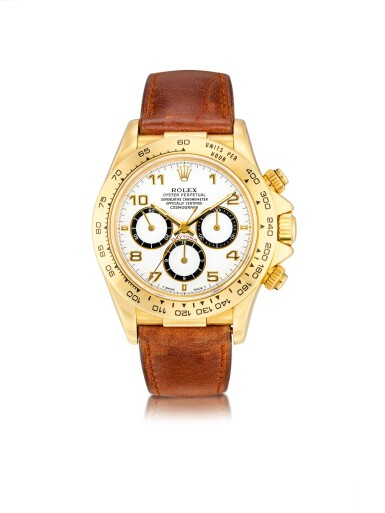 """View 1. Thumbnail of Lot 8023. Rolex   Cosmograph Daytona """"Inverted 6"""", Reference 16518, A yellow gold chronograph wristwatch, Circa 1991   勞力士   Cosmograph Daytona """"Inverted 6"""" 型號16518   黃金計時腕錶,約1991年製."""