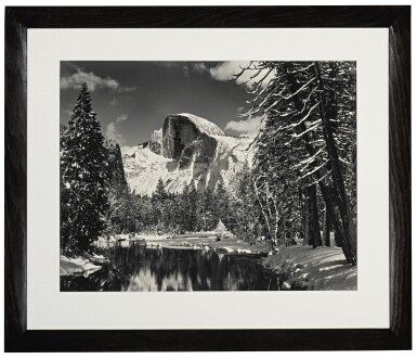 View 2. Thumbnail of Lot 38. Half Dome, Merced River, Winter, Yosemite Valley.