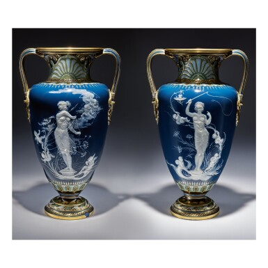 A PAIR OF MINTONS PÂTE-SUR-PÂTE PEACOCK-BLUE-GROUND VASES, 'TOO FAST' AND 'TOO SLOW' 1893