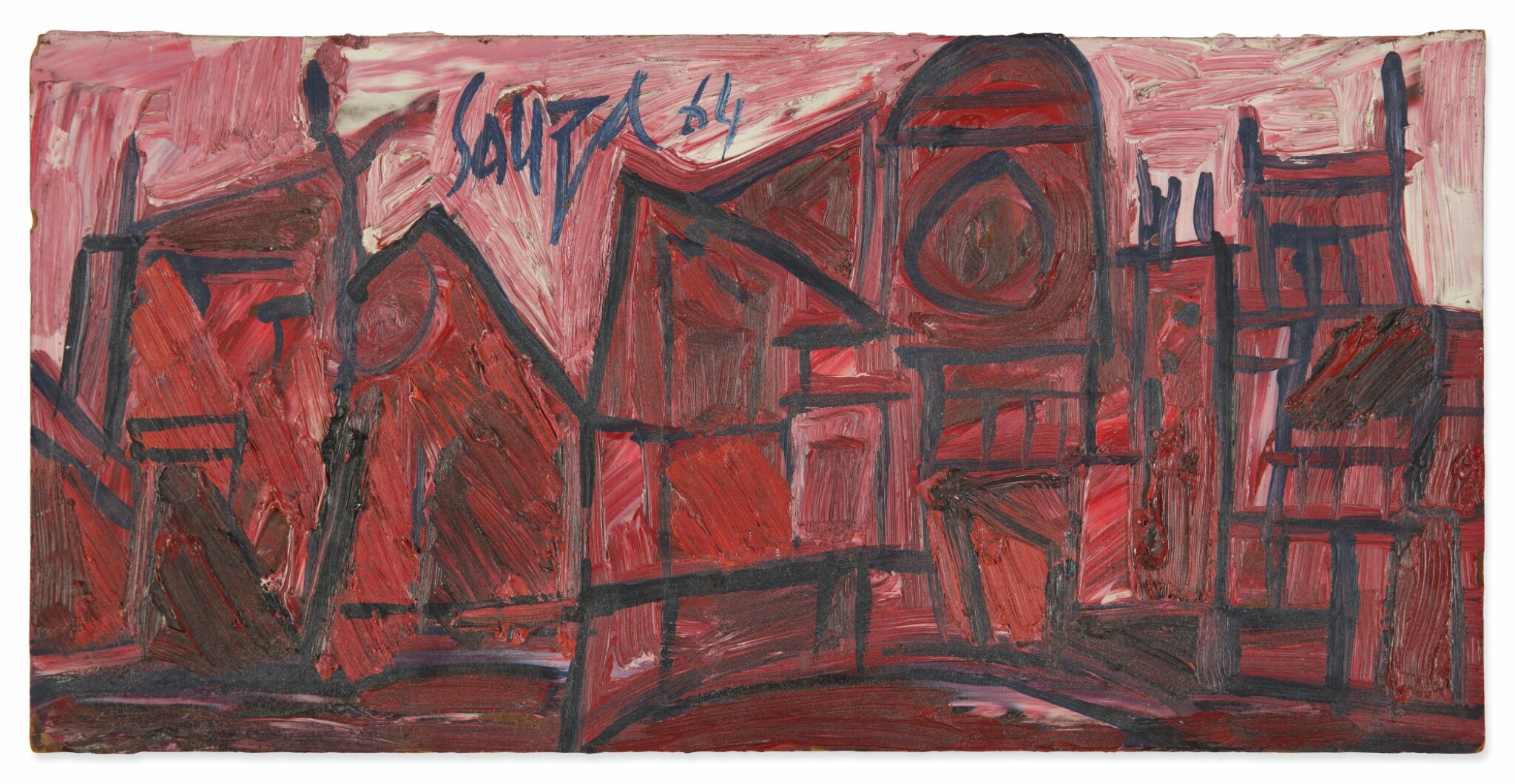 View full screen - View 1 of Lot 1826. FRANCIS NEWTON SOUZA | RED BUILDINGS IN LONDON.