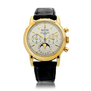 View 1. Thumbnail of Lot 30. PATEK PHILIPPE | REFERENCE 3970E  A YELLOW GOLD PERPETUAL CALENDAR CHRONOGRAPH WRISTWATCH WITH MOON PHASES AND LEAP YEAR INDICATION, MADE IN 1992.