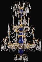 A RUSSIAN CUT-GLASS AND BRASS CHANDELIER 19TH CENTURY
