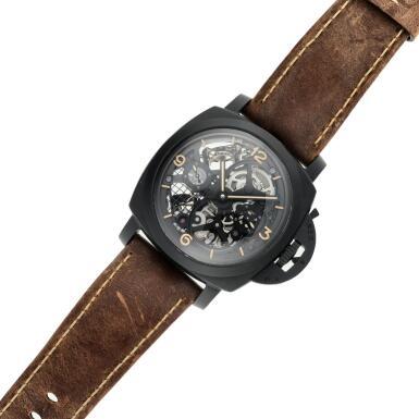 View 6. Thumbnail of Lot 311. Reference PAM00528 Luminor 1950 Tourbillon GMT  A limited edition black ceramic and titanium skeletonized tourbillon dual time wristwatch, Circa 2014.