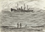 LAURENCE STEPHEN LOWRY, R.A.   TRAWLER IN A ROUGH SEA