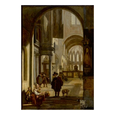 EMANUEL DE WITTE | INTERIOR OF A GOTHIC CHURCH LOOKING DOWN THE AISLE TOWARD THE CHOIR, WITH A FAMILY BEGGING FOR ALMS