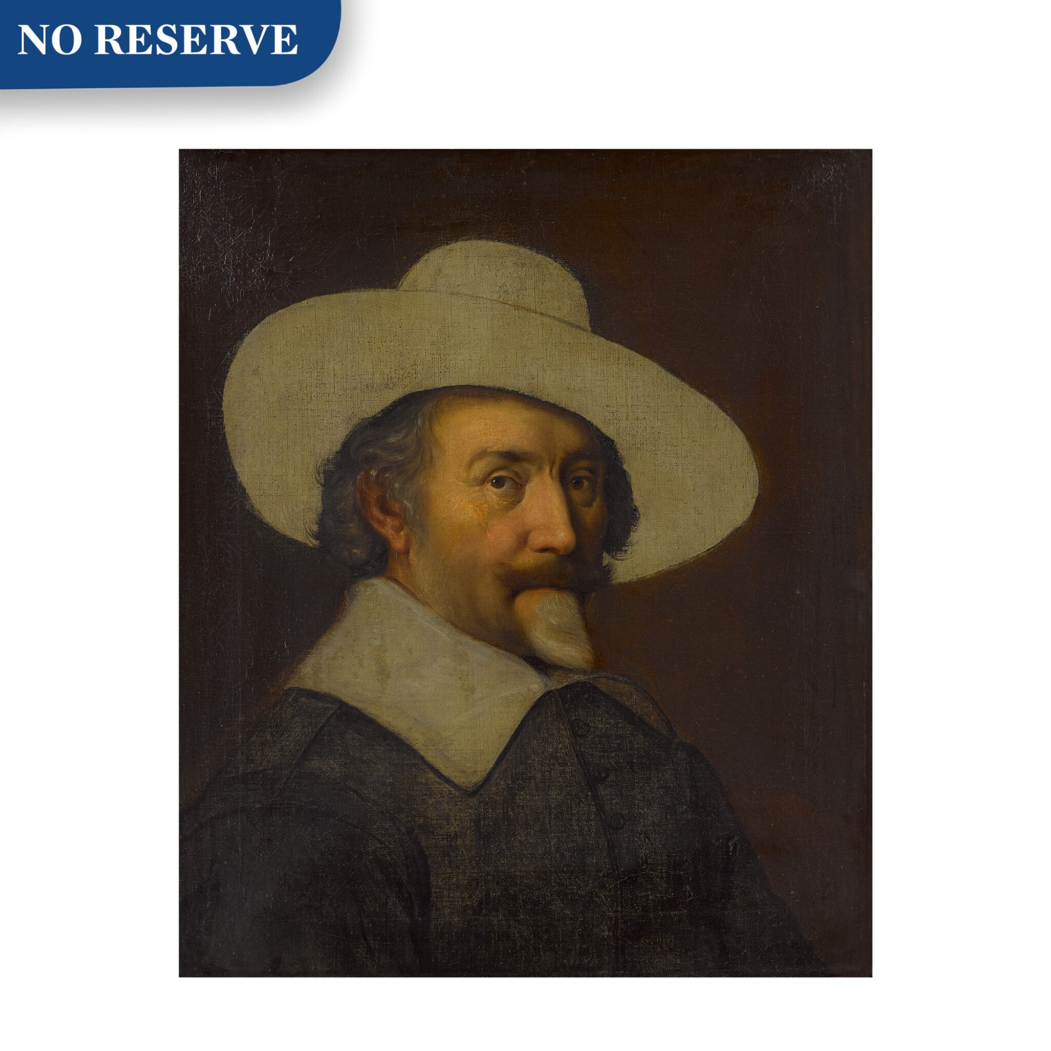 View full screen - View 1 of Lot 25. Portrait of a man, bust length, with a hat, unfinished.