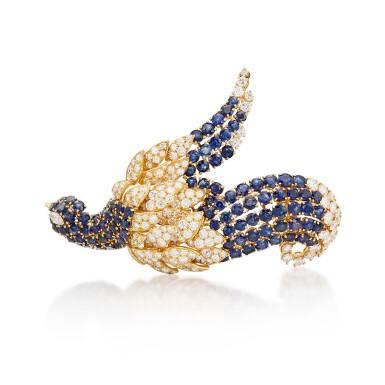 View 1. Thumbnail of Lot 8015. Sapphire and Diamond Brooch | 藍寶石 配 鑽石 胸針.