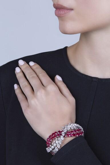 View 4. Thumbnail of Lot 90. Harry Winston [海瑞溫斯頓] | Ruby and Diamond Bracelet [紅寶石配鑽石手鏈].