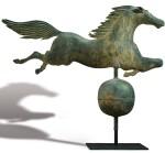 EXCEPTIONAL MOLDED COPPER LEAPING HORSE WEATHERVANE, BOSTON, MASSACHUSETTS, CIRCA 1860