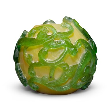 View 4. Thumbnail of Lot 59. A green overlay yellow glass 'chilong' water coupe, Qing dynasty, 19th century.