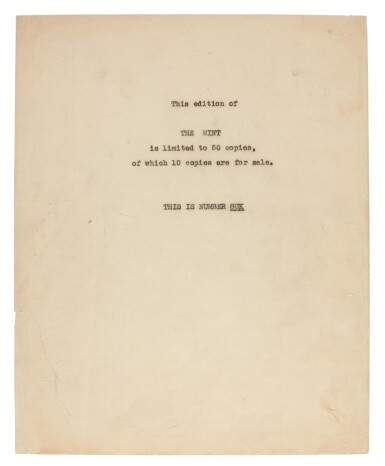 View 2. Thumbnail of Lot 119. LAWRENCE, T.E. | The Mint, carbon typescript copy, c.1936.