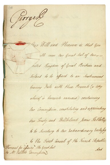 View 1. Thumbnail of Lot 48. GEORGE III | document signed, addressed to Lord High Chancellor Lord Eldon, 1802.