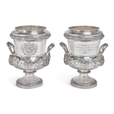 NAPOLEONIC INTEREST: A PAIR OF REGENCY SILVER WINE COOLERS AND LINERS, JOSEPH ANGELL, LONDON, 1816