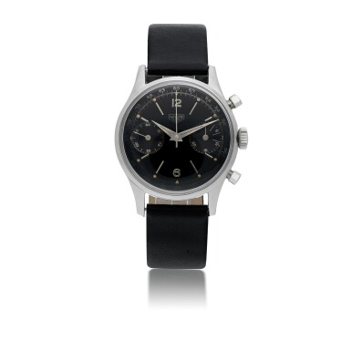 View 1. Thumbnail of Lot 49. HEUER | REF 3336NT STAINLESS STEEL CHRONOGRAPH WRISTWATCH  CIRCA 1955.