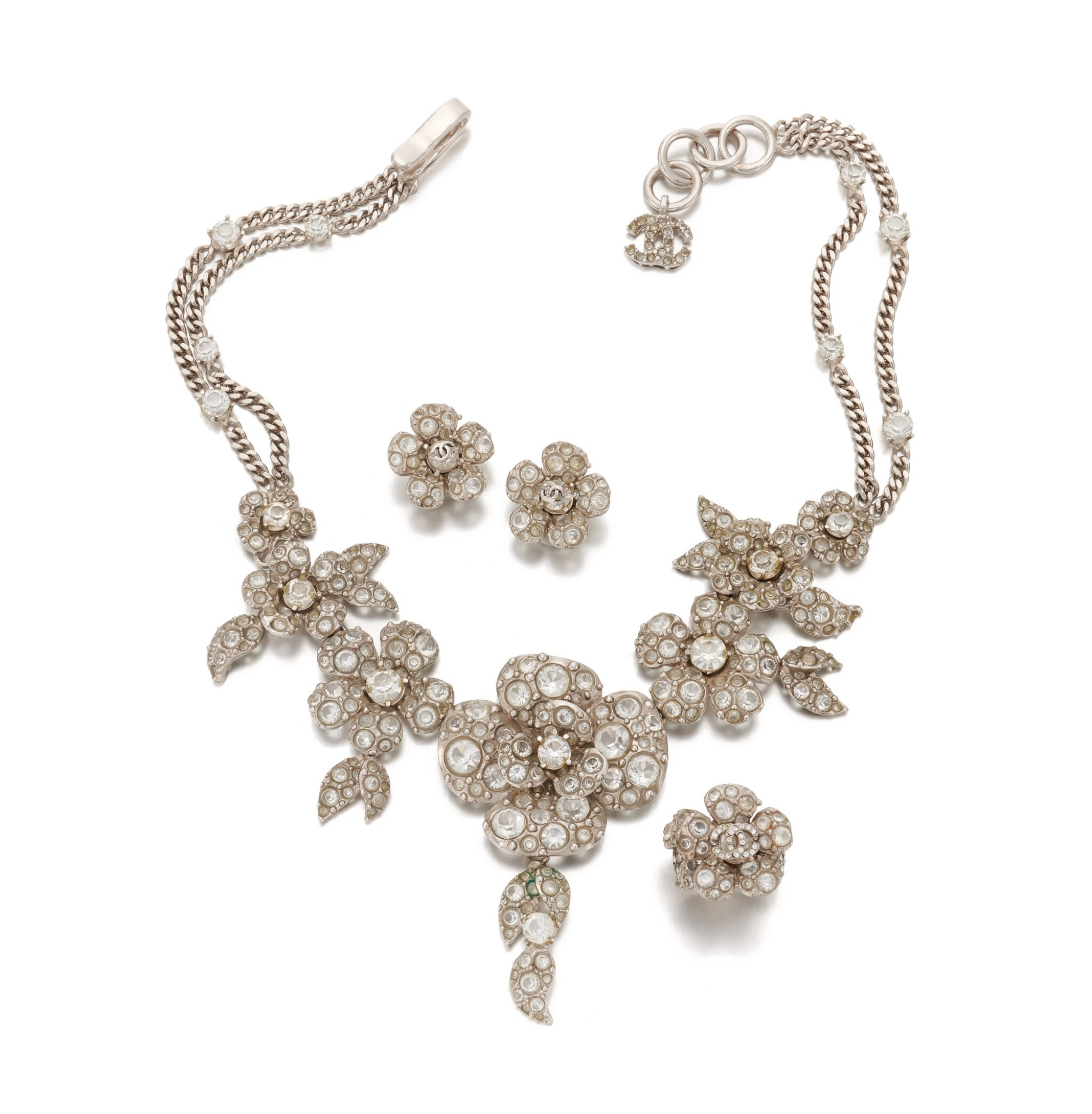View full screen - View 1 of Lot 130. Crystal Camellia demi-parure.