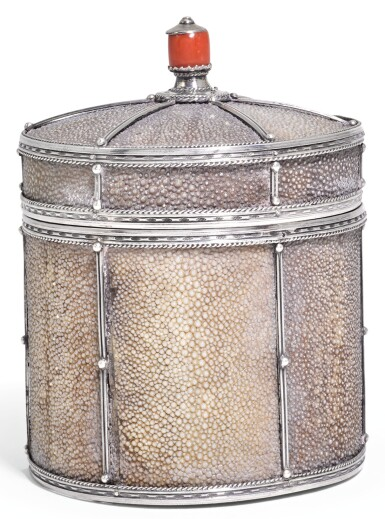 A RARE ARTS & CRAFTS SILVER AND SHAGREEN MOUNTED CIGAR CANNISTER, JOHN PAUL COOPER, CIRCA 1910