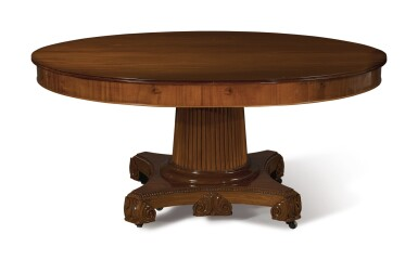 View 3. Thumbnail of Lot 283. A CONTINENTAL NEOCLASSICAL MAHOGANY DINING TABLE, 19TH CENTURY .