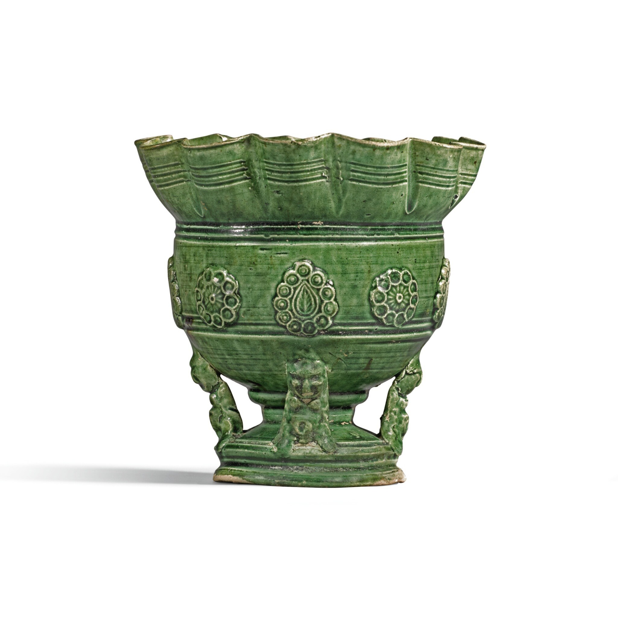 View full screen - View 1 of Lot 219. A GREEN-GLAZED CENSER, LATE TANG DYNASTY | 晚唐 綠釉香爐.