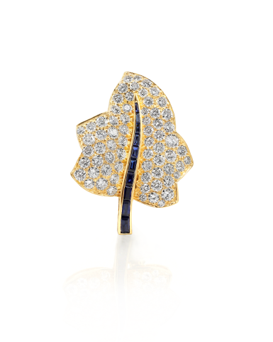 View 1. Thumbnail of Lot 16. Sapphire and Diamond Maple Leaf Brooch.
