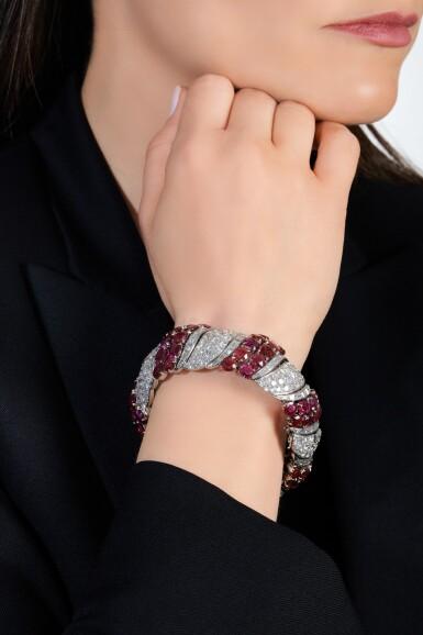 View 4. Thumbnail of Lot 170. Ruby and diamond bracelet | 紅寶石配鑽石手鏈.