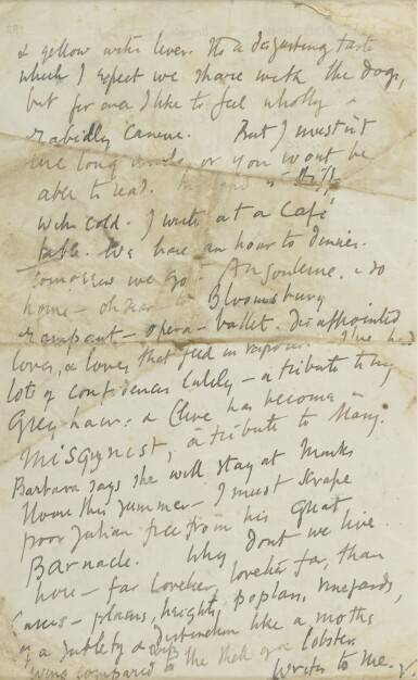 """View 2. Thumbnail of Lot 99. VIRGINIA WOOLF   AUTOGRAPH LETTER SIGNED (""""V""""), TO HER NEPHEW QUENTIN CLAUDIAN STEPHEN BELL."""