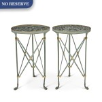 A PAIR OF DIRECTOIRE STYLE GILT AND PATINATED METAL GUÉRIDONS