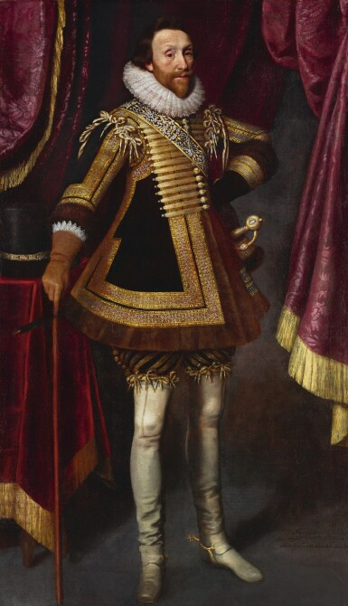 MICHIEL JANSZ. VAN MIEREVELT | Portrait of James Hay, 1st Earl of Carlisle (1580–1636), full-length, wearing an embroidered doublet, his hat on a table beside him