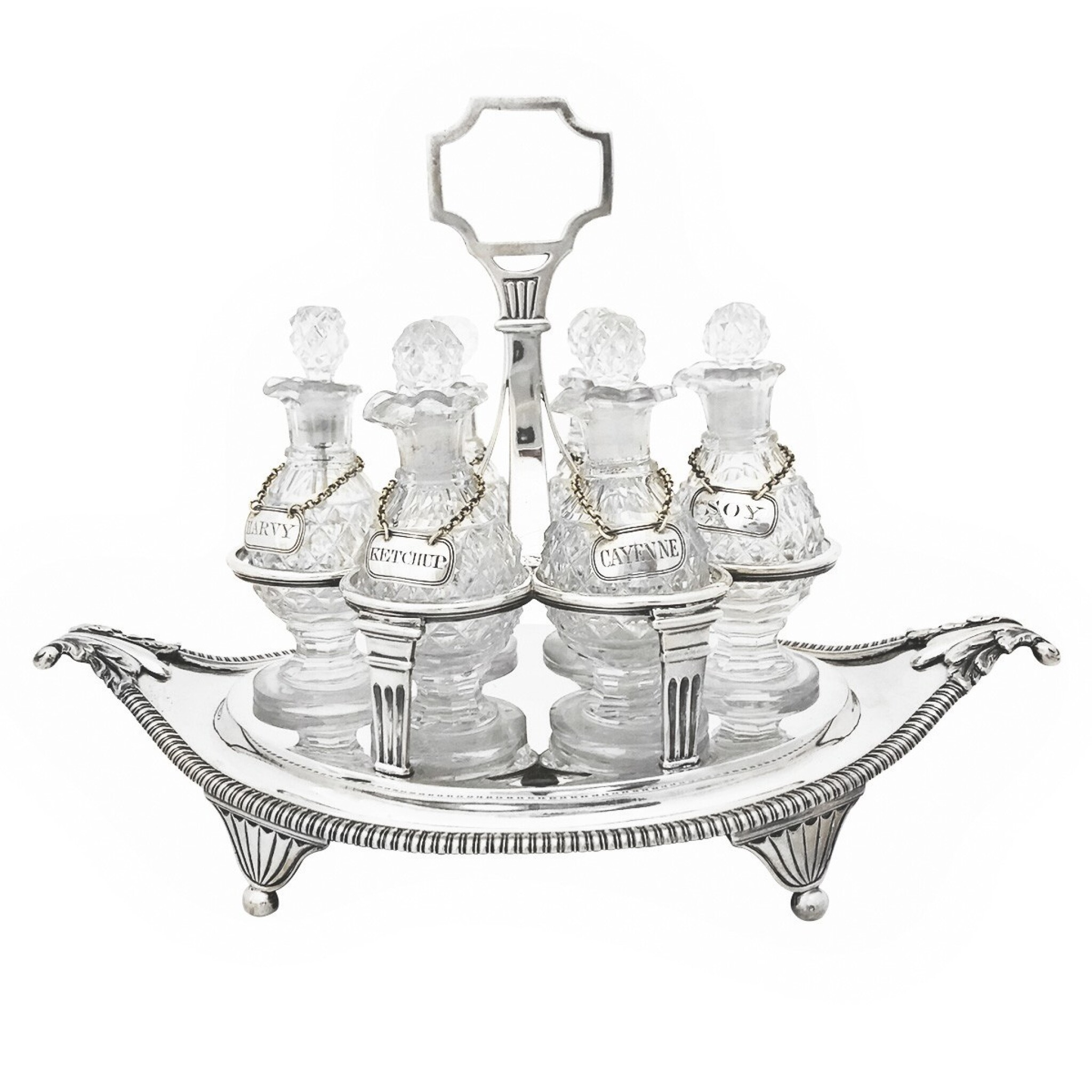 View full screen - View 1 of Lot 264. A GEORGE III SILVER CRUET SET, WILLIAM BURWASH AND RICHARD SIBLEY, LONDON, 1808.