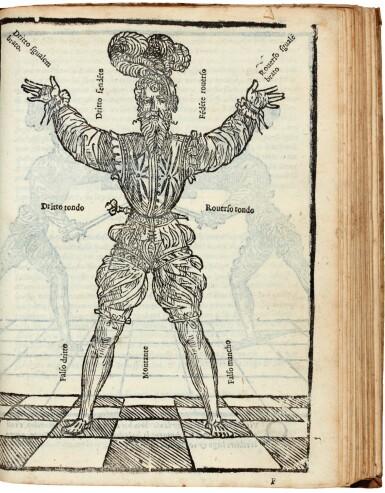View 1. Thumbnail of Lot 219. Marozzo, Opera nova de l'arte de l'armi, [Modena, c. 1540], contemporary limp vellum.