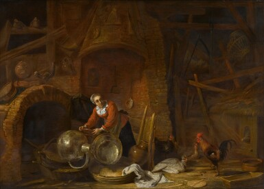 View 2. Thumbnail of Lot 26. Kitchen interior with a woman scouring pots and pans.