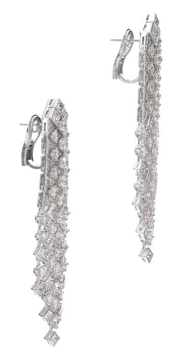 View 2. Thumbnail of Lot 638. Graff | Pair of diamond pendent earrings, 'Snowfall' | 格拉夫 | 鑽石「Snowfall」耳墜一對.